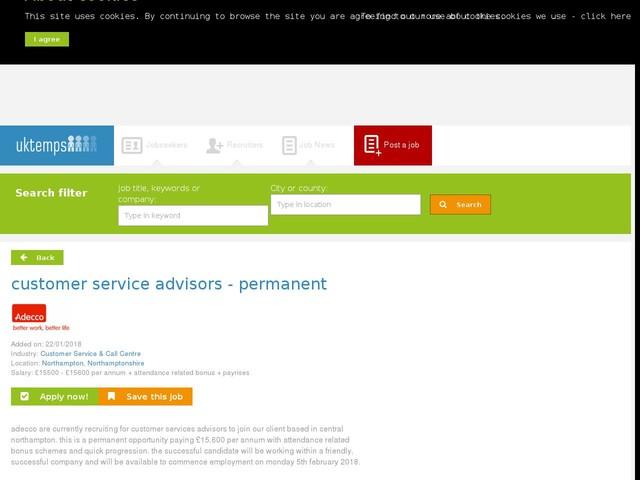 customer service advisors - permanent