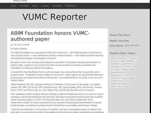 ABIM Foundation honors VUMC-authored paper