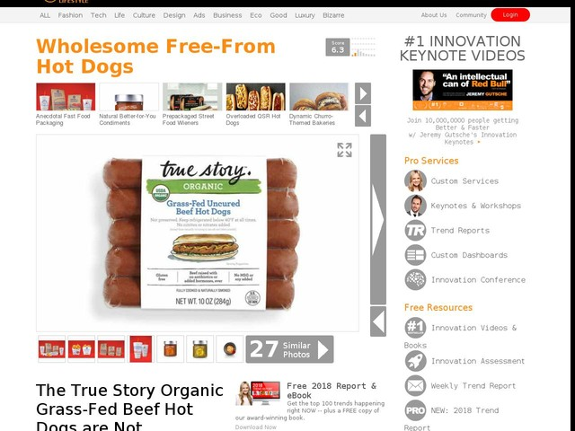 Wholesome Free-From Hot Dogs - The True Story Organic Grass-Fed Beef Hot Dogs are Not Preserved (TrendHunter.com)