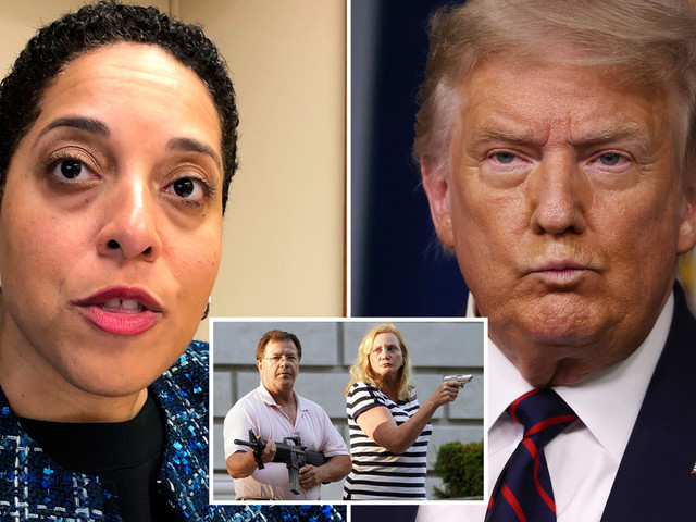 Trump slams 'egregious abuse of power' as prosecutor charges St Louis couple who pointed guns at gate-crashing BLM group