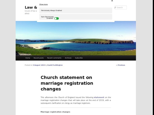 Church statement on marriage registration changes