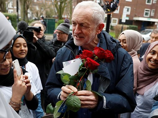'Brexit protester' is arrested after egg is thrown at Jeremy Corbyn during north London mosque visit