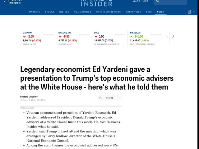 Legendary economist Ed Yardeni gave a presentation to Trump's top economic advisers at the White House — here's what he told them
