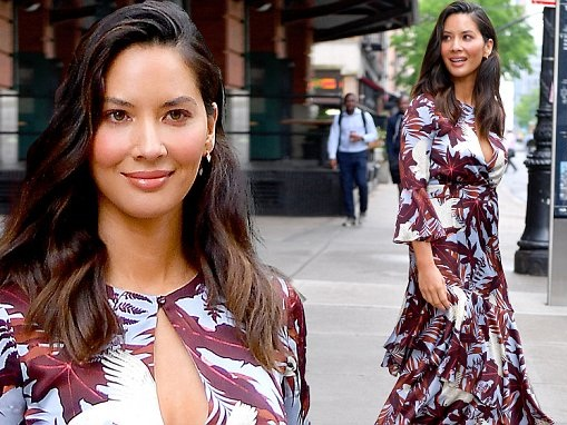 Olivia Munn looks fab in floral frock for GMA appearance in NYC