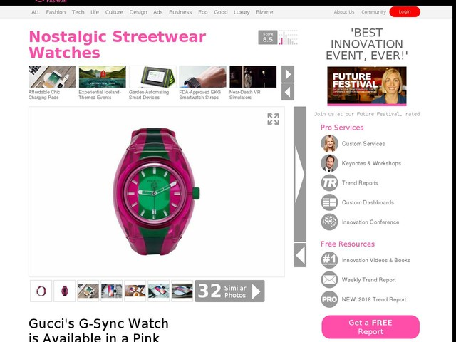 Nostalgic Streetwear Watches - Gucci's G-Sync Watch is Available in a Pink and Green Iteration (TrendHunter.com)