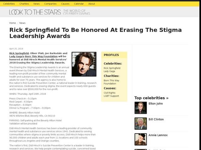 Rick Springfield To Be Honored At Erasing The Stigma Leadership Awards