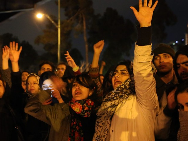 Iranians turn against regime and demand Ayatollah resigns with shouts of 'down with the dictator'