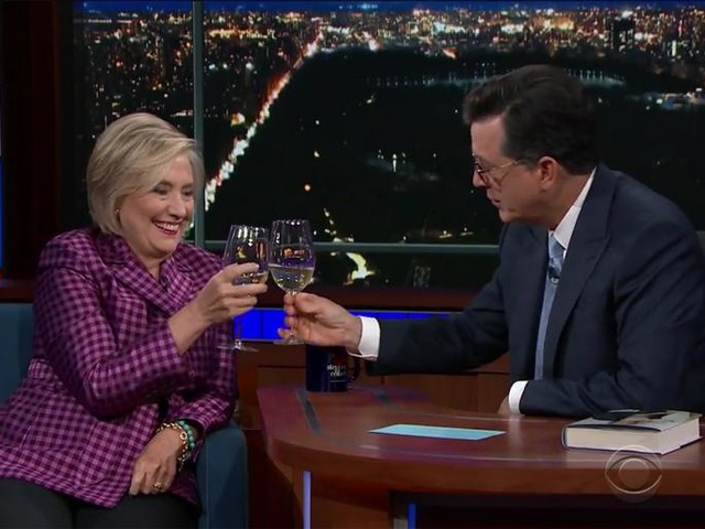 Clinton and Colbert Consume Chardonnay, Chat Collusion