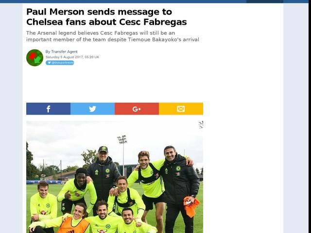 Paul Merson sends message to Chelsea fans about Cesc Fabregas