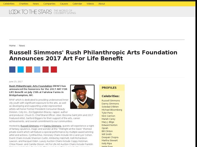 Russell Simmons' Rush Philanthropic Arts Foundation Announces 2017 Art For Life Benefit