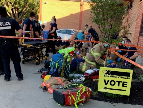 Eight people, including five-year-old child, hit by car in lineup outside Montreal polling station