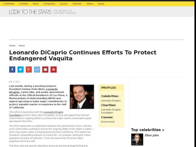 Leonardo DiCaprio Continues Efforts To Protect Endangered Vaquita