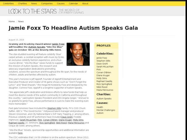 Jamie Foxx To Headline Autism Speaks Gala
