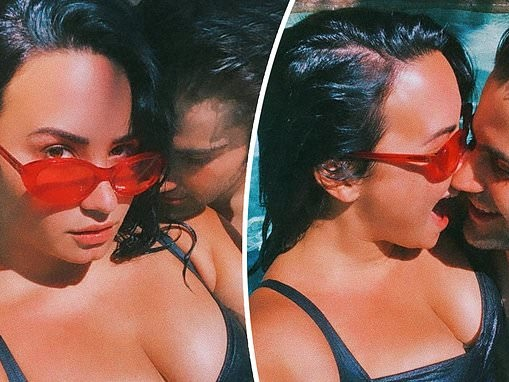 Demi Lovato packs on the PDA with her boyfriend Max Ehrich in steamy poolside snaps