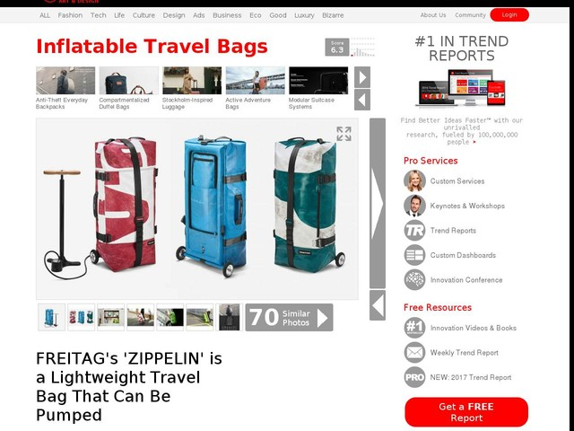 Inflatable Travel Bags - FREITAG's 'ZIPPELIN' is a Lightweight Travel Bag That Can Be Pumped (TrendHunter.com)