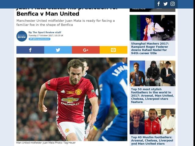 Juan Mata states his prediction for Benfica v Man United