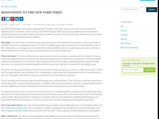 Responding to The New York Times - sofi.com