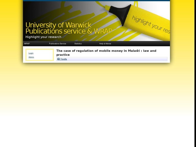 The case of regulation of mobile money in Malaŵi : law and practice