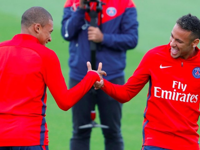 Neymar and Kylian Mbappé train together for the first time in a £364 million show of force from PSG