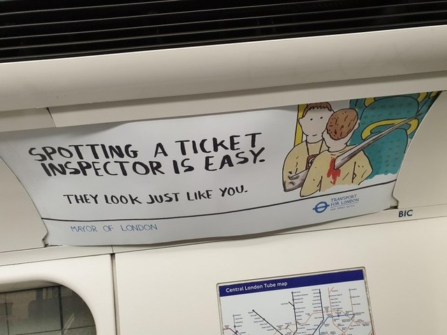 Spotted One Of These Rogue Ticket Inspector Ads On The Tube?