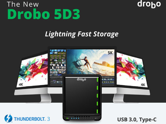 Drobo 5D3 5-bay Thunderbolt 3 storage solution launched