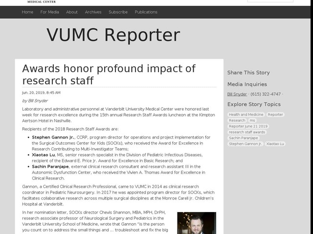 Awards honor profound impact of research staff