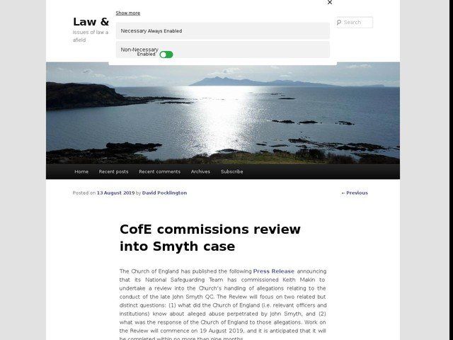 CofE commissions review into Smyth case
