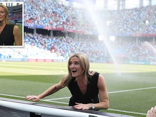 World Cup 2018: Gabby Logan soaked in beer by England fans