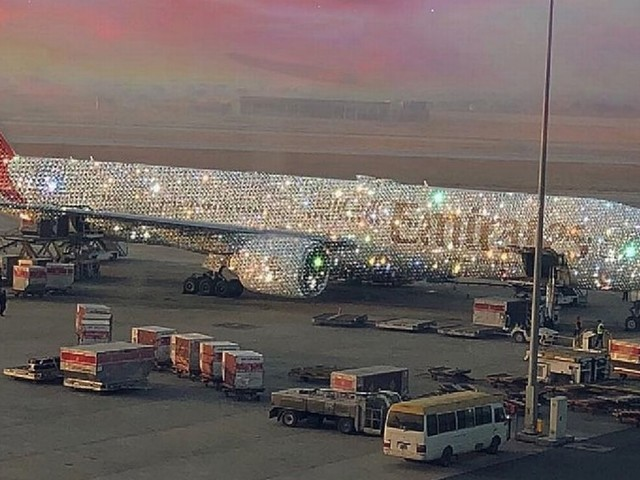 Emirates 'diamond covered' plane sends aviation fans into meltdown