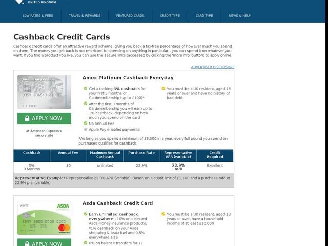 Cashback Credit Cards - Compare UK Cash Back Deals