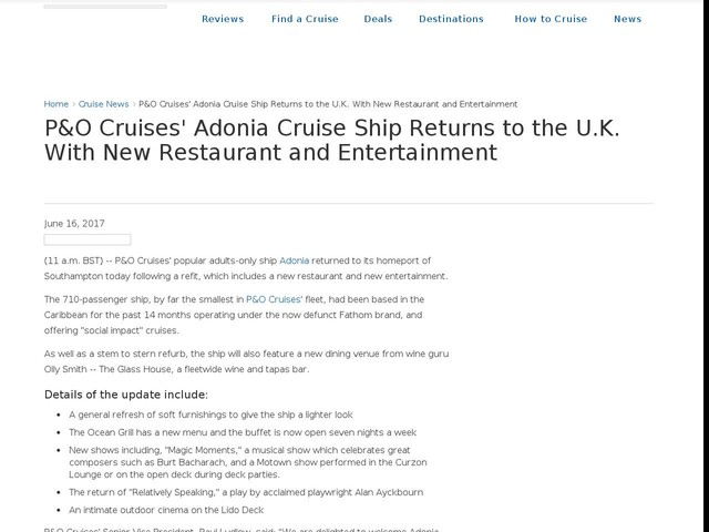 P&O Cruises' Adonia Cruise Ship Returns to the U.K. With New Restaurant and Entertainment