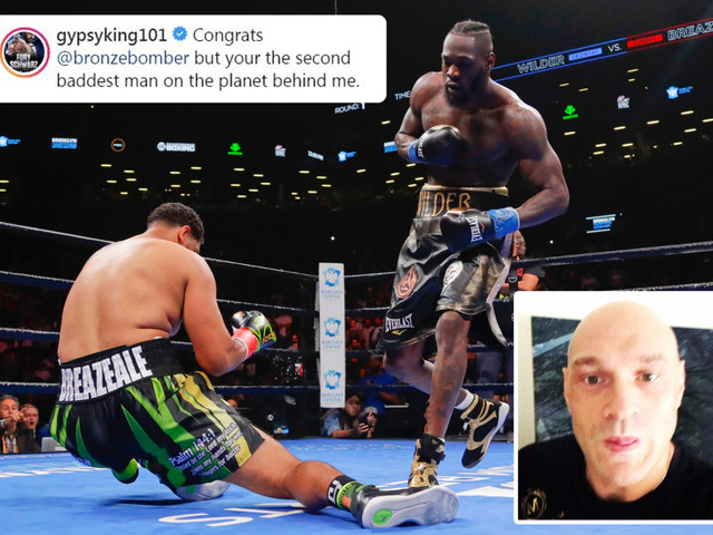 Fury congratulates 'second baddest man on the planet' Wilder for Breazeale win in video taunting Anthony Joshua