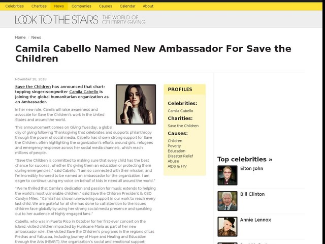 Camila Cabello Named New Ambassador For Save the Children
