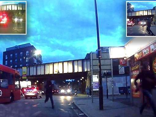 Thug shoots man in busy London street then flees as victim lies bloodied in road