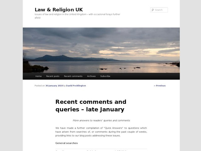 Recent comments and queries – late January