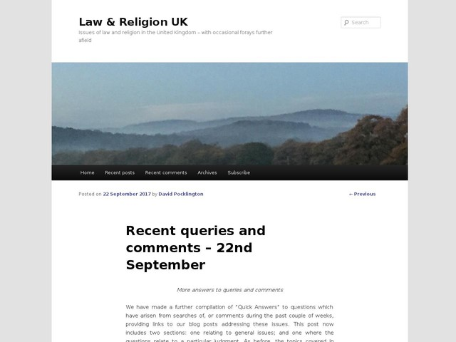Recent queries and comments – 22nd September
