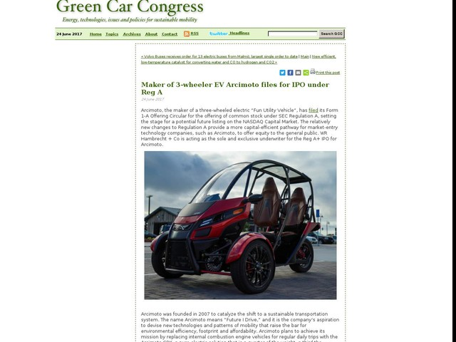 Maker of 3-wheeler EV Arcimoto files for IPO under Reg A