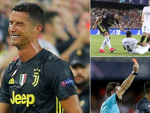 Cristiano Ronaldo leaves pitch after red card in Champions League opener