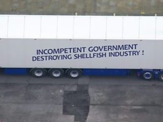 Lorry drivers protest at post-Brexit fish export rules