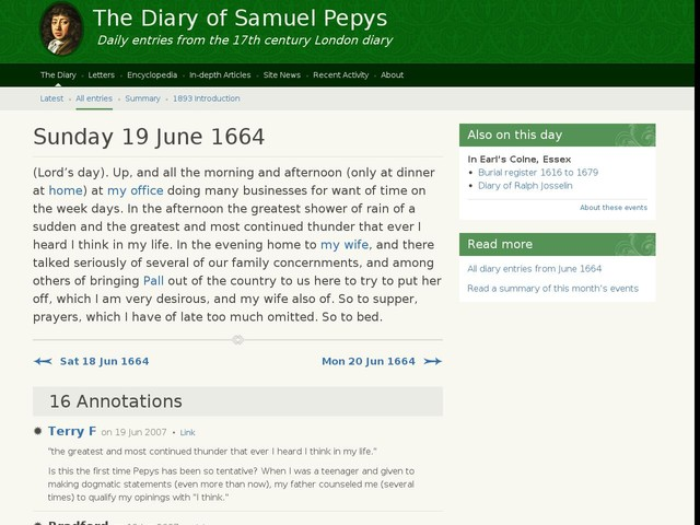 Sunday 19 June 1664