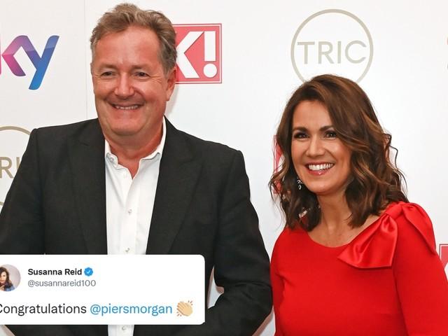 Susanna Reid congratulates Piers Morgan on his new job with The Sun and talkTV