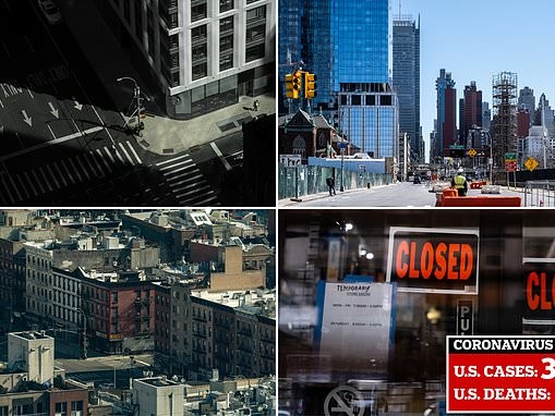 New York is turned into a virtual ghost town as people stay indoors and off the subway