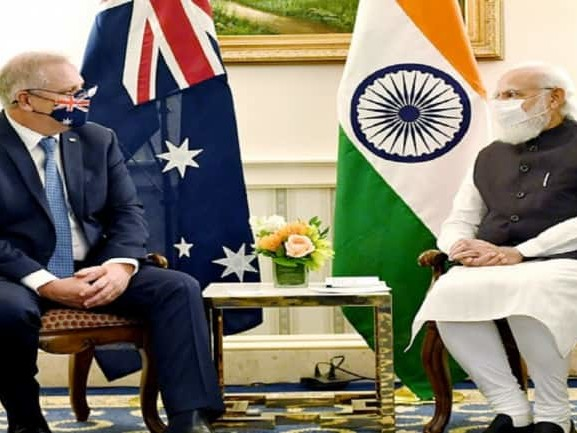 PM Modi discusses bilateral, regional, global issues with Australia#39;s Scott Morrison in US ahead of 1st in-person Quad Summit