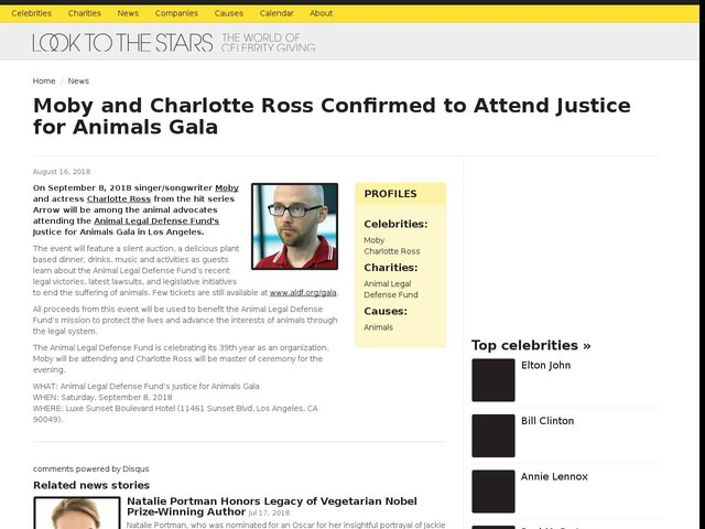 Moby and Charlotte Ross Confirmed to Attend Justice for Animals Gala