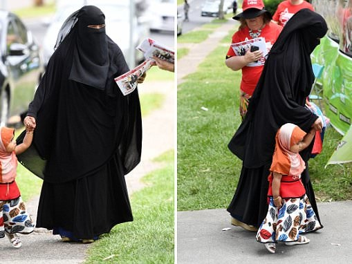 Woman in burqa votes in the Queensland state election