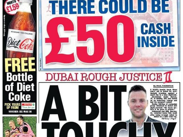 Scotland's papers: Scot in Dubai jail over hip touch