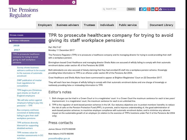 TPR to prosecute healthcare company for trying to avoid giving its staff workplace pensions