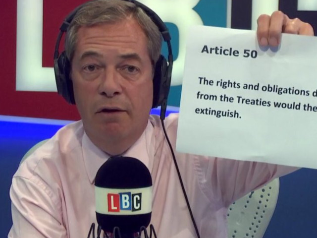 Nigel Farage Selectively Quotes Article 50 With 'Dishonest' Claim About Divorce Bill