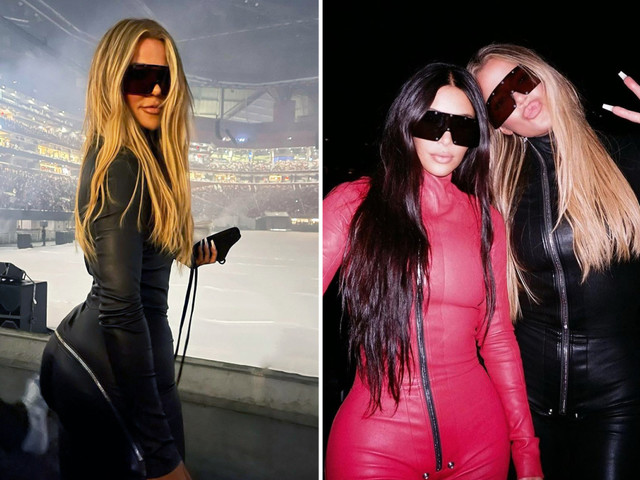 Kim Kardashian & sister Khloe stun in skintight catsuits in behind-the-scenes photos from Kanye West's Donda album party
