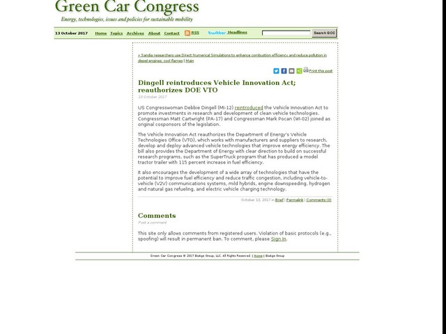 Dingell reintroduces Vehicle Innovation Act; reauthorizes DOE VTO